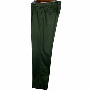 Lands' End Green Double Pleated Cuffed Dress Pants